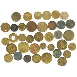 Lot of 37 German copper/brass merchant tokens, mid-1800s to mid-1900s.