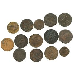 Lot of 14 British copper halfpenny tokens, dated 1791-1797.