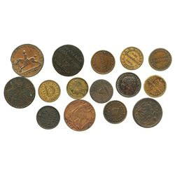 Lot of 15 British copper tokens, ca. 1790-1830, some important.