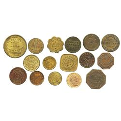 Lot of 16 British copper/brass merchant tokens, ca. 1850-1899, some important.