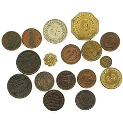 Lot of 17 British copper/brass merchant tokens, ca. 1826-1858, some important.