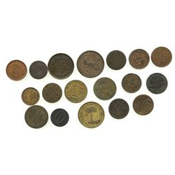 Lot of 18 British copper/brass merchant tokens, ca. 1813-1850, some important.