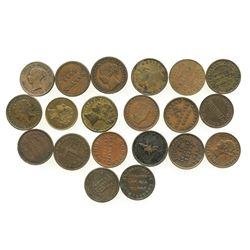 "Lot of 20 British copper/brass merchant tokens, mostly ""unofficial farthings"" of ca. 1840-1870."