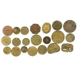 Lot of 21 British copper/brass merchant tokens, ca. 1850-1899.