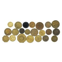 Lot of 22 British copper/brass (mostly) merchant tokens, ca. 1850-1899.