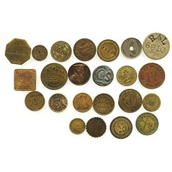 Lot of 23 British copper (mostly) medals and merchant tokens, ca. 1850-1899.