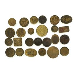 Lot of 25 British copper/brass merchant tokens, ca. 1850-1899.