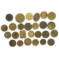 Lot of 26 British copper/brass merchant tokens, ca. 1850-1899.
