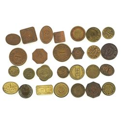 Lot of 27 British copper/brass merchant tokens, ca. 1850-1899.