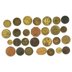 Lot of 28 British copper/brass merchant tokens, ca. 1850-1899.