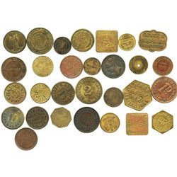 Lot of 29 British copper/brass merchant tokens, ca. 1850-1899.