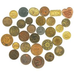 Lot of 31 British copper/brass merchant tokens, ca. 1850-1899.