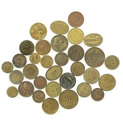 Lot of 32 British copper/brass merchant tokens, ca. 1850-1899.