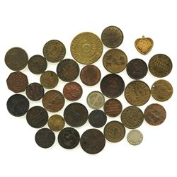 Lot of 33 (mostly) British copper/brass merchant tokens, mostly late 1800s but one dated 1797.