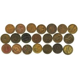 "Lot of 21 Irish copper/brass ""unofficial farthing"" tokens, ca. 1800-1850."