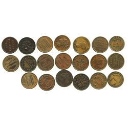 "Lot of 20 Irish copper/brass ""unofficial farthing"" tokens, ca. 1835-1853."
