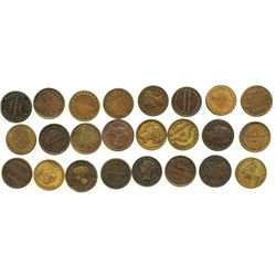 "Lot of 24 Irish copper/brass ""unofficial farthing"" tokens, ca. 1840-1890."