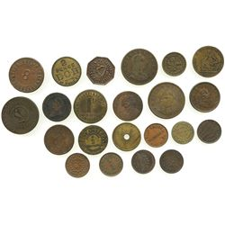 Lot of 22 Irish copper/brass merchant tokens (larger than a farthing), ca. 1800-1899, some important