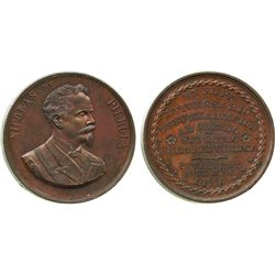 Lima, Peru, large copper medal dated Sept. 8, 1896, Nicholas de Pierola.