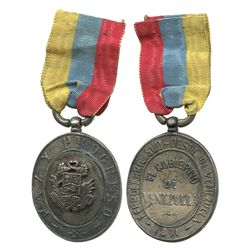 Venezuela, heavy base-metal railroad medal (oval), 1891, with original ribbon