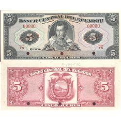 Ecuador, 5 sucres banknote, series FN (1956), ABNC specimen, encapsulated PMG 66 EPQ.