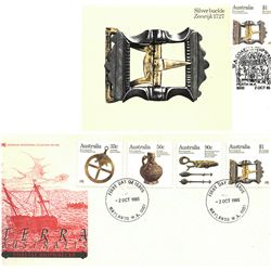 Australia, two items from the 1985 shipwreck artifacts series featuring the top 5 shipwrecks off the