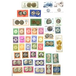 Mediterranean countries, lot of 43 stamps (mid- to late 1900s), all different, showing coins of the