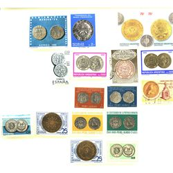 Latin America and Spain, lot of 17 stamps (1959-2004), all different, showing coins of Latin America