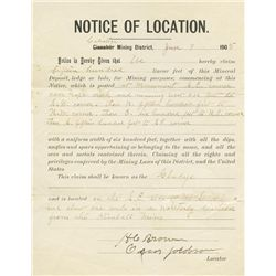 "1905 mining claim document (""Notice of Location""), Calistoga, California."