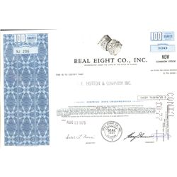 Stock certificate for the Real Eight Co. (late 1960s through mid-1970s), printed by the Columbian Ba