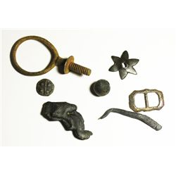 Lot of 6 cuprous objects (buckle, spur, stylus, knob, etc) plus a brass loop-screw from a later wrec