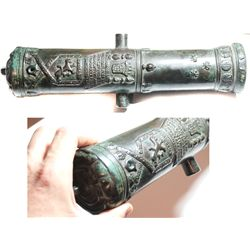 "Small bronze cannon (1800s?), a miniaturized replica of the famous 1533 Portuguese ""Tiger"" cannon lo"