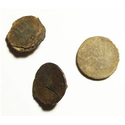 Lot of 3 pewter military buttons, Revolutionary War period (late 1700s), probably American militia,