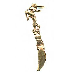 Gold replica (14K) of a scimitar-shaped toothpick / fingernail cleaner recovered from the 1715 Fleet
