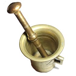 Brass mortar and pestle, 1800s.