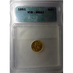 1851 $1.00 GOLD LIBERTY ICG MS62, NICE, EST. $525.00-$550.00