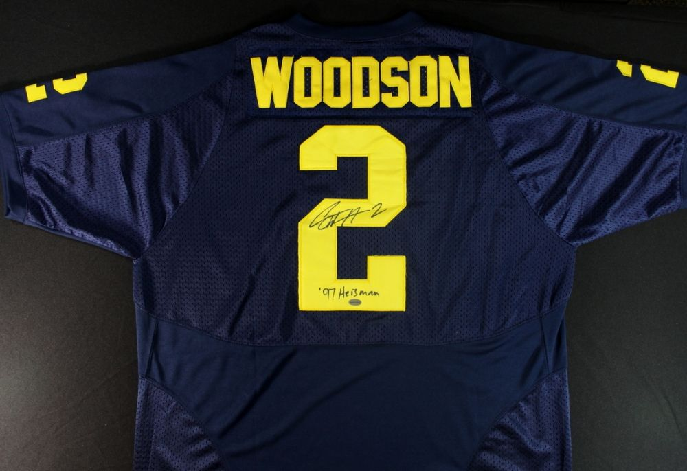 best cheap 8dae4 8fbd4 Charles Woodson Signed Michigan Jersey: Inscribed