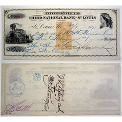 Third National Bank of St. Louis with Revenue Imprint, Issued Check.