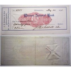Western National Bank with Revenue Imprint, Issued Check.