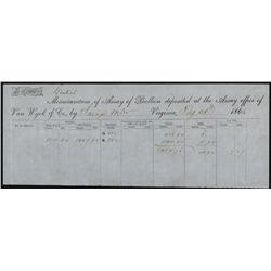 Assay of Bullion Receipt, 1865.