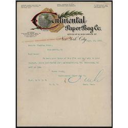 Continental Paper Bag & Co., Letterhead.