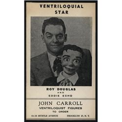 John Carroll Ventriloquist Figures, Advertisement.