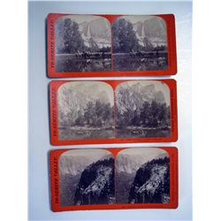 Stereoscope Cards, Yo-Semite Falls and Valley, Lot of 3.