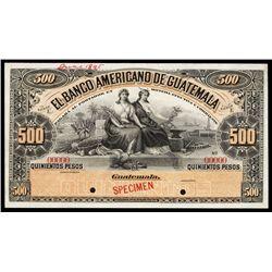 El Banco Americano De Guatemala Specimen Banknote.