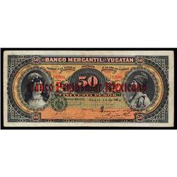 Banco Mercantil De Yucatan / Peninsular Mexicano, 1898 - 1904 Issue.