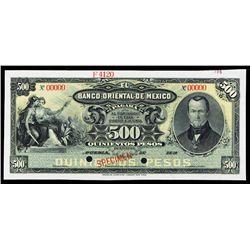 Banco Oriental De Mexico, 1901-1914 Issue  Specimen.