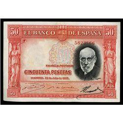 El Banco De Espana, 1935 Regular Issue Color Trial Specimen.