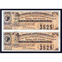 Original Little Louisiana Co. of San Francisco Uncut Lottery Ticket Pair.