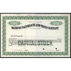 Bank of Palm Beach and Trust Co., Specimen Stock.