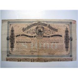 Confederate States of America Loan, Issued Bond.